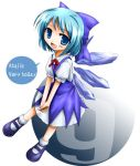 ? blue_hair bow chibi cirno engrish lowres ranguage solo tenmaru touhou wings ⑨