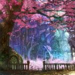 building cherry_blossoms flower landscape light munashichi petals rail railing scenery tree trees window windows wings