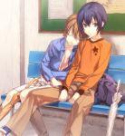 1girl androgynous bad_id bag bench blue_hair brown_eyes brown_hair closed_eyes cool_girl couple ginka_sima mako-chan_(minami-ke) makoto_(minami-ke) minami-ke minami_touma reverse_trap sitting sleeping star trap umbrella