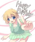 blue_eyes breasts cleavage happy_birthday leaning_forward lucky_star patricia_martin short_hair six_alchemy skirt solo tekehiro v