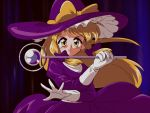 1990s_(style) 1girl bangs blonde_hair bow choroli_(chorolin) commentary dark_background eyebrows_visible_through_hair floating_hair frilled_hat frills gloves hair_bow hands_up hat hat_bow holding holding_wand juliet_sleeves kirisame_marisa kirisame_marisa_(pc-98) long_sleeves looking_at_viewer open_mouth outstretched_hand phantasmagoria_of_dim.dream puffy_sleeves purple_bow purple_headwear sash sidelocks solo tareme touhou touhou_(pc-98) turtleneck v-shaped_eyebrows wand white_gloves white_sash witch_hat yellow_bow yellow_eyes