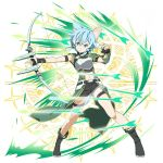 1girl animal_ears asymmetrical_sleeves black_footwear black_ribbon black_shorts blue_eyes blue_hair boots bow_(weapon) breastplate cat_ears detached_sleeves full_body green_sleeves hair_between_eyes hair_ribbon highres holding holding_bow_(weapon) holding_weapon long_sleeves midriff navel official_art ribbon shiny shiny_hair short_hair short_shorts shorts sidelocks single_sleeve sinon_(sao-alo) solo standing stomach sword_art_online sword_art_online:_code_register thigh_strap transparent_background v-shaped_eyebrows weapon