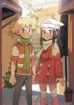 1boy 1girl barry_(pokemon) beanie black_hair blonde_hair blush boots brown_eyes buttons coat commentary dawn_(pokemon) day eyelashes green_scarf grey_eyes hair_ornament hairclip hat highres hunnyamai long_hair long_sleeves looking_at_viewer outdoors pink_footwear plant pokemon pokemon_(game) pokemon_dppt pokemon_platinum potted_plant red_coat scarf short_sleeves sidelocks smile socks white_headwear white_legwear white_scarf