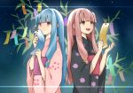 2girls bamboo bamboo_leaf bangs binchou_maguro black_kimono blue_hair blunt_bangs cherry_blossom_print commentary floral_print hair_ornament highres holding_tanzaku japanese_clothes kimono kotonoha_akane kotonoha_aoi long_hair looking_away multiple_girls obi open_mouth pink_eyes pink_hair pink_kimono sash siblings side-by-side sidelocks sisters sky smile sparkle star_(sky) star_(symbol) star_hair_ornament starry_sky tanzaku upper_body voiceroid yukata