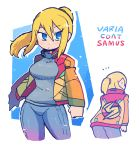 1girl blonde_hair blue_bodysuit blue_sweater bodysuit bomber_jacket character_name closed_mouth contrapposto cowboy_shot cropped_legs eyebrows_visible_through_hair floating_hair hair_between_eyes halftone halftone_background jacket long_hair long_sleeves looking_at_viewer metroid notice_lines open_clothes open_jacket outline ponytail rariatto_(ganguri) samus_aran sweater white_outline