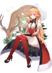 1girl absurdres aoiro_(t_aoiro123) azur_lane bangs bare_shoulders bird black_footwear black_gloves blonde_hair book breasts crown deer gloves hand_on_own_chest high_heels highres holding holding_book huge_filesize large_breasts long_hair looking_at_viewer red_legwear richelieu_(azur_lane) sitting smile solo thigh-highs very_long_hair violet_eyes