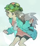 1girl bike_shorts buttons camouflage_headwear clenched_hand closed_mouth coat collarbone commentary_request eyelashes green_coat grey_eyes grey_hair highres holding holding_poke_ball knees leaf_(pokemon) long_hair long_sleeves looking_to_the_side poke_ball poke_ball_(basic) pokemon pokemon_(game) pokemon_masters_ex rata_(m40929) shiny shiny_hair sidelocks smile solo