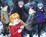 2girls 3boys absurdres ayanami_rei blonde_hair coat coffee gainax gloves highres ikari_shinji multiple_boys multiple_girls nagisa_kaworu neon_genesis_evangelion official_art sadamoto_yoshiyuki scan scarf souryuu_asuka_langley suzuhara_touji winter_clothes