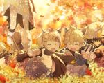 1girl 2boys animal_ears autumn autumn_leaves bangs black_scarf blonde_hair blue_hair closed_eyes commentary dress falling_leaves fox_boy fox_ears fox_girl fox_tail hair_ornament hairclip japanese_clothes kagamine_len kagamine_rin kaito leaf lying multiple_boys on_back on_person open_mouth playing scarf short_hair sinaooo smile spiky_hair standing swept_bangs symbol_commentary tail vocaloid white_dress