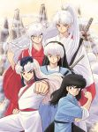 5boys absurdres alternate_hairstyle bangs black_eyes black_hair braid braided_ponytail brothers brown_eyes chinese_clothes clenched_hand clouds creator_connection crescent crossover facial_mark facial_scar forehead_mark hair_down hair_tousle hairstyle_switch hand_up herb_(ranma_1/2) high_ponytail highres inuyasha inuyasha_(character) japanese_clothes katana kimono long_hair looking_at_viewer male_focus mao_(mao) mao_(takahashi_rumiko) mountain multicolored_hair multiple_boys multiple_crossover outstretched_arm pants pointy_ears ponytail ranma_1/2 red_eyes ribbon-trimmed_sleeves ribbon_trim saotome_ranma sash scar sesshoumaru shinkan siblings sidelocks single_braid sleeves_rolled_up smile sword two-tone_hair very_long_hair weapon white_hair yellow_eyes