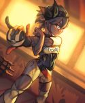 1girl \m/ absurdres bea_(pokemon) black_bodysuit black_hairband blue_eyes bodysuit bodysuit_under_clothes bow_hairband breasts commentary dark_skin dutch_angle english_commentary gloves grey_hair gym_leader hairband highres knee_pads number partly_fingerless_gloves poke_ball pokemon pokemon_(game) pokemon_swsh print_shirt print_shorts ron_tsfany serious shirt short_hair short_sleeves shorts sidelighting single_glove small_breasts solo toned ultra_ball