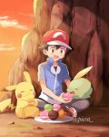 1boy artist_name ash_ketchum baseball_cap black_hair blue_jacket brown_eyes clouds commentary_request eating feeding food gen_1_pokemon gen_3_pokemon gulpin hat jacket mei_(maysroom) open_mouth outdoors pants pikachu pokemon pokemon_(anime) pokemon_(creature) pokemon_xy_(anime) red_headwear short_sleeves sitting sky teeth tongue twilight watermark