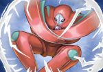 absurdres alternate_form black_sclera commentary commentary_request crossed_arms curled_up deoxys deoxys_(defense) energy gen_3_pokemon highres matsumoto_(ma_tsuya) mythical_pokemon no_humans pokemon pokemon_(creature) shiny white_eyes