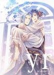 1boy 1girl :d bangs blue_hair braid carrying collarbone couple dress ferdinand_(honzuki_no_gekokujou) flower hair_flower hair_intakes hair_ornament hetero highres honzuki_no_gekokujou ino_(ino2019) jewelry long_dress long_hair long_sleeves maine_(honzuki_no_gekokujou) open_mouth red_flower ring shiny shiny_hair short_hair silver_hair smile swept_bangs twitter_username white_dress yellow_eyes