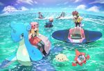 1girl 4boys afloat artist_name black_footwear black_legwear calem_(pokemon) clouds commentary_request day eyewear_on_headwear gen_1_pokemon gen_2_pokemon gen_3_pokemon gen_4_pokemon hands_on_hips hat kokoroko lapras light_brown_hair long_hair looking_down mantine mega_pokemon mega_sharpedo multiple_boys outdoors pink_headwear pleated_skirt pokemon pokemon_(creature) pokemon_(game) pokemon_swsh pokemon_xy red_skirt rhydon riding_pokemon rotom rotom_bike rotom_dex serena_(pokemon) sharpedo shoes sitting skirt sky standing sunglasses thigh-highs victor_(pokemon) water watermark