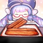 1girl :3 bangs bare_shoulders blue_hair blue_headwear blunt_bangs chibi chopsticks closed_eyes commentary eating eel_hat grilled_eel hair_ornament hairclip holding holding_chopsticks mouth_hold obentou otomachi_una outstretched_arms red-framed_eyewear rice semi-rimless_eyewear solo talkex twintails unajuu_(food) vocaloid yoruake_hoshiko