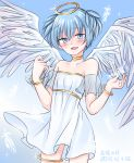 1boy ansatsu_kyoushitsu bangle blue_eyes blue_hair blush bracelet choker collarbone detached_sleeves eyebrows_visible_through_hair feathered_wings feathers halo jewelry looking_at_viewer male_focus open_mouth otoko_no_ko shiota_nagisa short_hair short_twintails simple_background skirt smile solo tenten_(kitty) twintails wings