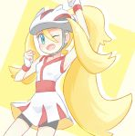 1girl akasaka_(qv92612) arm_up bangs bare_arms bike_shorts blonde_hair blue_eyes clenched_hand commentary_request dress eyelashes fingerless_gloves gloves hair_between_eyes hand_up high_ponytail korrina_(pokemon) long_hair looking_at_viewer one_eye_closed open_mouth pokemon pokemon_(game) pokemon_xy solo tongue