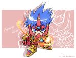 1boy blue_hair character_name chibi clenched_hand fighter_roar fighting_stance glowing glowing_hand kouta_azuma looking_at_viewer power_armor shokkaa_(shmz61312) solo super_robot_wars super_robot_wars_original_generation super_robot_wars_original_generation_gaiden