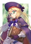 1girl adjusting_eyewear artoria_pendragon_(all) artoria_pendragon_(caster) bangs belt bespectacled blonde_hair blue_belt book bow bowtie cape closed_mouth commentary_request dated double-breasted eyebrows_visible_through_hair fate/grand_order fate_(series) glasses gloves green_eyes hair_between_eyes highres holding holding_book jacket light_rays long_hair long_sleeves looking_at_viewer multicolored multicolored_cape multicolored_clothes o-ring o-ring_belt purple-framed_eyewear purple_bow purple_cape purple_gloves purple_headwear purple_neckwear red_cape semi-rimless_eyewear sidelocks signature smile solo standing twintails white_jacket yudoufu_(unify)