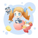 1girl :d akasaka_(qv92612) blue_eyes blue_ribbon brown_hair buttons commentary_request eyebrows_visible_through_hair eyelashes fennekin food frills gen_6_pokemon gloves hair_ornament hair_ribbon hairclip highres official_alternate_costume open_mouth pancham pokemon pokemon_(anime) pokemon_(creature) pokemon_xy_(anime) ribbon serena_(pokemon) sitting smile sparkle sweets tongue twintails white_gloves