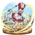 1girl apron arms_behind_head arms_up breastplate brown_footwear day faulds faux_figurine frilled_skirt frills full_body gloves hair_ornament hairclip highres leg_up lisbeth long_sleeves miniskirt neck_ribbon official_art open_mouth outdoors pink_hair pleated_skirt red_eyes red_ribbon red_shirt red_skirt ribbon shiny shiny_hair shirt short_hair skirt solo sword_art_online sword_art_online:_code_register thigh_strap waist_apron white_apron white_gloves