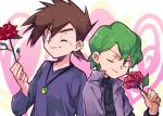 2boys aihara_(ihara113o) brown_hair closed_mouth commentary_request drew_(pokemon) eyebrows_visible_through_hair flower gary_oak green_eyes green_hair hand_up holding holding_flower jacket jewelry long_sleeves looking_at_viewer male_focus multiple_boys necklace one_eye_closed pokemon pokemon_(anime) pokemon_(classic_anime) pokemon_rse_(anime) purple_jacket purple_shirt red_flower red_rose rose shirt smile spiky_hair upper_body
