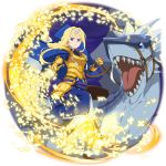 1girl alice_zuberg amayori_(sao) armor armored_boots armored_dress bangs blonde_hair blue_cape blue_dress blue_eyes boots bow braid braided_ponytail breastplate cape closed_mouth dragon dress floating_hair frown gauntlets hair_bow hair_intakes highres holding holding_sword holding_weapon long_dress long_hair looking_at_viewer official_art osmanthus_blade ponytail riding sidelocks solo sword sword_art_online sword_art_online:_code_register transparent_background v-shaped_eyebrows very_long_hair weapon white_bow yellow_footwear