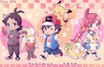 1girl 2boys ;d antenna_hair artist_name ash_ketchum baseball_cap black_hair black_legwear blue_eyes blush chibi chloe_(pokemon) closed_mouth commentary copyright_name dated dog dress fangs gen_1_pokemon gen_4_pokemon gen_8_pokemon goh_(pokemon) hair_ornament hairclip hand_up hat heart highres holding holding_poke_ball jacket multiple_boys on_head one_eye_closed open_mouth pikachu poke_ball pokemon pokemon_(anime) pokemon_(creature) pokemon_on_head pokemon_swsh_(anime) raboot rotom rotom_phone shoes short_sleeves shorts side_slit smile socks tongue watermark yamper yataba_(pk_ytb)