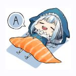 1girl a bangs food gawr_gura hololive hololive_english lying on_back open_mouth sleeping speech_bubble sushi white_hair zaffiro