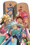 1990s_(style) 1boy 5girls azaka hakubi_washuu kamidake kuramitsu_mihoshi masaki_aeka_jurai masaki_sasami_jurai masaki_tenchi multiple_girls official_art ryou-ouki ryouko_(tenchi_muyou!)
