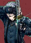1boy black_gloves commentary devil_may_cry devil_may_cry_5 fingerless_gloves gloves highres holding holding_sword holding_weapon katana looking_at_viewer sheath shimure_(460) solo sword unsheathing vergil weapon white_hair yellow_eyes