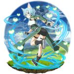 1girl animal_ears asymmetrical_sleeves bangs black_footwear black_ribbon black_shorts blue_eyes blue_hair breastplate cat_ears cat_girl cat_tail detached_sleeves faux_figurine floating_hair from_behind full_body green_sleeves hair_between_eyes hair_ribbon heart highres long_sleeves looking_back official_art ribbon shiny shiny_hair short_hair short_shorts shorts single_sleeve sinon_(sao-alo) solo sword_art_online sword_art_online:_code_register tail thigh_strap transparent_background