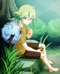 1boy bangs barefoot between_legs brown_shirt bush closed_mouth commentary_request cube day eyebrows_visible_through_hair gen_5_pokemon green_eyes green_hair hair_between_eyes hand_between_legs hand_up holding long_hair n_(pokemon) nagiru outdoors pokemon pokemon_(creature) pokemon_(game) pokemon_bw rock shirt short_sleeves sidelocks sitting smile t-shirt toes tree woobat