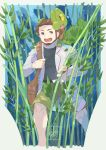 1boy belt birch_(pokemon) black_shirt brown_bag commentary_request facial_hair fingernails gen_3_pokemon grey_eyes highres holding_strap kikuyoshi_(tracco) knees labcoat leaf long_sleeves looking_to_the_side on_shoulder open_mouth pokemon pokemon_(creature) pokemon_(game) pokemon_on_shoulder pokemon_rse shirt shorts teeth tongue treecko