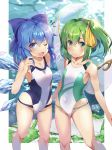 2girls ;d blue_bow blue_eyes blue_hair blue_swimsuit bow cirno closed_mouth collarbone daiyousei fairy_wings flat_chest frown green_eyes green_swimsuit hair_bow hair_ribbon highres ice ice_wings looking_at_viewer multiple_girls one-piece_swimsuit one_eye_closed open_mouth renka_(renkas) ribbon short_hair side_ponytail smile standing swimsuit touhou two-tone_swimsuit white_swimsuit wings yellow_ribbon