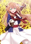 1girl :d bangs blue_jacket blush bow brown_hair coffee_cup commentary_request cup dagger disposable_cup dress eyebrows_visible_through_hair fringe_trim ginkgo_leaf girls_frontline green_eyes hair_between_eyes hair_bow hair_rings highres holding holding_cup jacket jewelry long_hair long_sleeves looking_at_viewer m1903_springfield m1903_springfield_(girls_frontline) object_namesake open_clothes open_jacket open_mouth plaid plaid_scarf pleated_dress red_bow red_scarf ring sansei_rain scarf smile solo striped striped_bow very_long_hair weapon weapon_on_back wedding_band white_dress