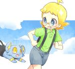 1boy ahoge akasaka_(qv92612) blonde_hair blue_shorts blush buttons clemont_(pokemon) clenched_hands collared_shirt commentary_request gen_4_pokemon glasses green_shirt grey_eyes happy looking_back open_mouth pokemon pokemon_(creature) shinx shiny shiny_hair shirt short_sleeves shorts sparkle suspender_shorts suspenders tongue younger