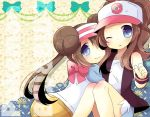2girls ;o bare_shoulders baseball_cap black_vest blue_eyes blue_shorts blush bow brown_hair closed_mouth collarbone commentary_request copyright_name double_bun hat high_ponytail hilda_(pokemon) knees_up kouu_hiyoyo long_hair multiple_girls one_eye_closed parted_lips pink_bow pink_headwear pokemon pokemon_(game) pokemon_bw pokemon_bw2 ponytail raglan_sleeves rosa_(pokemon) shirt short_shorts shorts smile twintails very_long_hair vest visor_cap white_headwear white_shirt wrist_cuffs yellow_shorts
