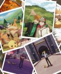 2boys alakazam appletun arm_around_neck artist_name baseball_cap black_hair black_jacket black_pants blue_oak charizard closed_mouth clouds commentary curry cuteskitty day eevee food gen_1_pokemon gen_8_pokemon grass hand_in_pocket hat heart highres jacket jewelry long_sleeves motion_blur multiple_boys necklace older orange_hair outdoors pants photo_(object) pidgeot pikachu pokemon pokemon_(game) pokemon_sm pokemon_swsh pose red_(pokemon) sky snorlax spiky_hair standing sweater sweater_under_jacket turtleneck turtleneck_sweater watermark