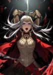 1girl armor axe battle_axe black_background black_feathers boobplate breastplate broken_crown cape commentary_request crown dress edelgard_von_hresvelg fake_horns feather_trim feathers fire_emblem fire_emblem:_three_houses fire_emblem_heroes gauntlets hair_down hair_ornament highres holding holding_axe holding_weapon horn_ornament horns long_hair looking_at_viewer mueririko open_mouth red_cape red_dress scar single_horn solo teeth tiara torn_cape torn_clothes violet_eyes weapon white_hair