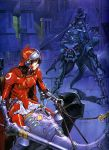 1990s_(style) 1girl armor creature gainax helmet highres knight lance long_hair olympia_(gainax) polearm sadamoto_yoshiyuki scan traditional_media weapon