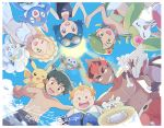 3boys 3girls ;d alolan_form alolan_marowak alolan_vulpix ash_ketchum bangs blonde_hair blue_eyes blue_hair bone brown_hair clawitzer clouds day from_below gen_1_pokemon gen_6_pokemon gen_7_pokemon goggles goggles_on_head highres holding_hands kiawe_(pokemon) lana_(pokemon) lillie_(pokemon) long_hair looking_at_viewer mallow_(pokemon) mei_(maysroom) multiple_boys multiple_girls on_shoulder one-piece_swimsuit one_eye_closed open_mouth orange_hair outdoors pikachu pokemon pokemon_(anime) pokemon_(creature) pokemon_on_shoulder pokemon_sm_(anime) popplio redhead rowlet shirtless short_hair shorts sky smile sophocles_(pokemon) starfish_hair_ornament staryu steenee sun swimsuit symbol_commentary teeth togedemaru tongue v white_swimsuit