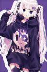 1girl black_legwear bow choker expressionless garter_straps hair_ribbon long_hair original outline purple_background purple_choker purple_hoodie ribbon signature skull_print thigh-highs tsubaki_tsubaru twintail_girl_(tsubaki_tsubara) twintails violet_eyes white_hair white_outline