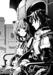 1boy 1girl animal_ears chain closed_mouth eye_contact fingerless_gloves firo_(tate_no_yuusha_no_nariagari) fur-trimmed_gloves fur_trim gloves greyscale highres long_hair looking_at_another minami_seira monochrome novel_illustration official_art outdoors raccoon_ears raccoon_girl raphtalia shiny shiny_hair sitting smile tate_no_yuusha_no_nariagari very_long_hair