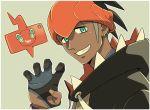 1boy aqua_eyes black_hair black_hoodie claw_pose commentary_request cyaneko dark_skin dark_skinned_male dynamax_band earrings gen_4_pokemon gloves gym_leader hand_up hood hood_down jewelry looking_at_viewer orange_headwear partly_fingerless_gloves pokemon pokemon_(anime) pokemon_(creature) pokemon_swsh_(anime) raihan_(pokemon) rotom rotom_phone smile teeth upper_body