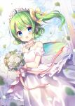 1girl :d bangs bare_shoulders blue_eyes blurry blurry_background blush bouquet bow collarbone commentary_request daiyousei depth_of_field detached_sleeves dress eyebrows_visible_through_hair fairy_wings flower green_flower green_hair green_wings hair_between_eyes hair_bow holding holding_bouquet leaves_in_wind one_side_up open_mouth pjrmhm_coa puffy_short_sleeves puffy_sleeves rose short_sleeves smile solo strapless strapless_dress tiara touhou wedding_dress white_dress white_flower white_rose white_sleeves wings yellow_bow