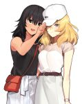 2girls adjusting_clothes adjusting_headwear andou_(girls_und_panzer) bag bangs baseball_cap belt black_hair black_shirt blonde_hair blue_eyes blush brown_belt brown_eyes carrying casual closed_mouth dark_skin eyebrows_visible_through_hair frown girls_und_panzer half-closed_eye handbag hat long_skirt looking_at_another looking_at_viewer medium_hair messy_hair miniskirt multiple_girls one_eye_closed open_mouth oshida_(girls_und_panzer) pleated_skirt sandals shirt shoes short_sleeves side-by-side simple_background skirt sleeveless sleeveless_shirt smile standing tan3charge watch watch white_background white_headwear white_shirt white_skirt