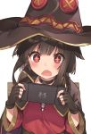 1girl bangs black_cape black_gloves black_hair black_headwear blunt_bangs blush button_eyes cape commentary_request dress eyebrows_visible_through_hair fingerless_gloves gloves hat highres holding kono_subarashii_sekai_ni_shukufuku_wo! long_sleeves megumin nintendo_switch open_mouth playing_games red_dress red_eyes short_hair sidelocks simple_background sneakery4 solo sparkling_eyes upper_body video_game white_background witch_hat