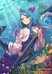 1girl air_bubble animal artist_name bangs bare_shoulders blue_dress blue_hair blurry blurry_background blush breasts bubble closed_mouth commentary coral dappled_sunlight day depth_of_field dragalia_lost dress english_commentary eyebrows_visible_through_hair fish gradient_hair hentaki holding holding_staff horns long_hair long_sleeves looking_away looking_to_the_side medium_breasts mercury_(dragalia_lost) multicolored_hair orb outdoors pointy_ears purple_hair red_eyes shirt shoulder_cutout smile solo spiked_tail staff sunlight swept_bangs tail underwater water watermark web_address white_shirt wide_sleeves